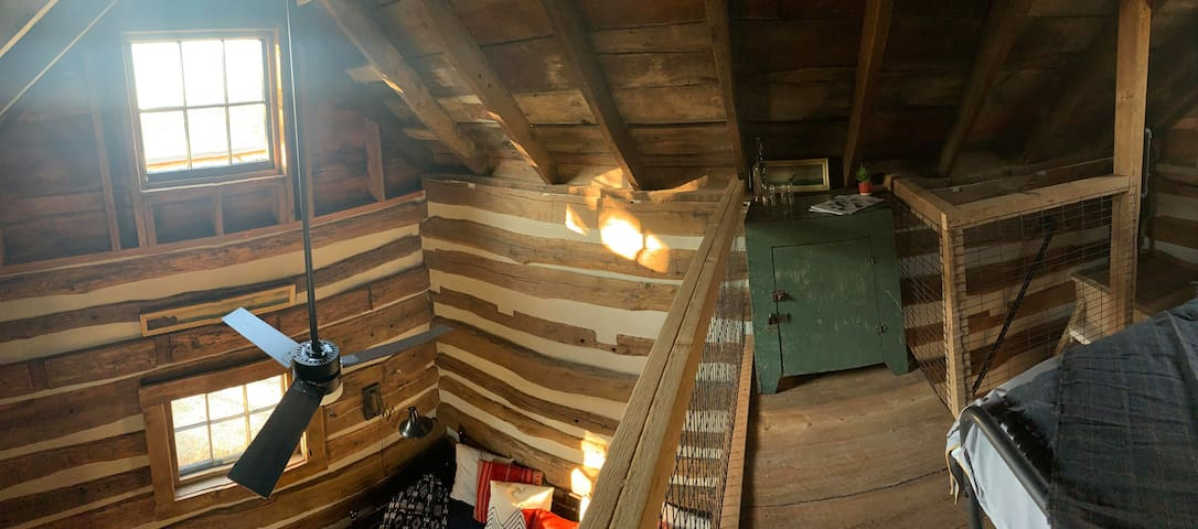 The view from the loft, steep stairs to access the loft area.