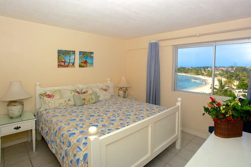 Bedroom 1 with view of the Ocho Rios Beach