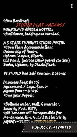 FUNMILAYO HOSTEL! Residency & yearly Student Lodge