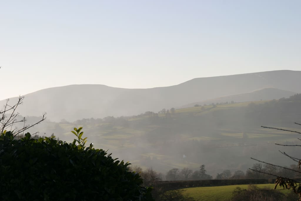 The Brecon Beacons viewed from Bwlch Centre outside the shop