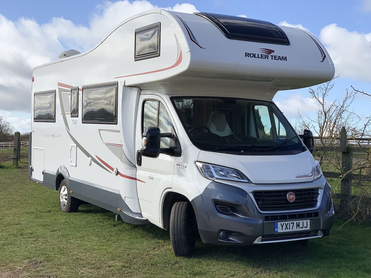 2017 Roller-Team 746 Motorhome with Awning, Solar Panel and Bike Rack.