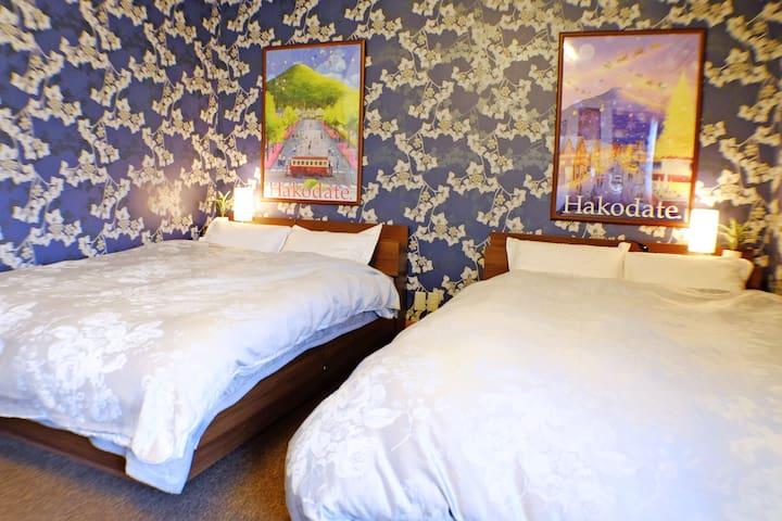 【2 Double Beds Room】Super Kind Host!/JR Hakodate/