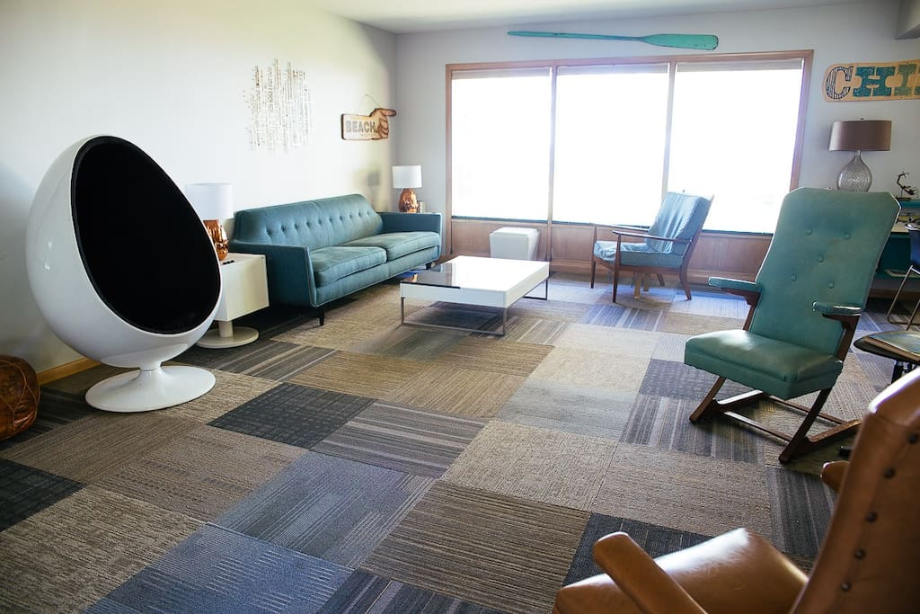 Living room with mid-century look.