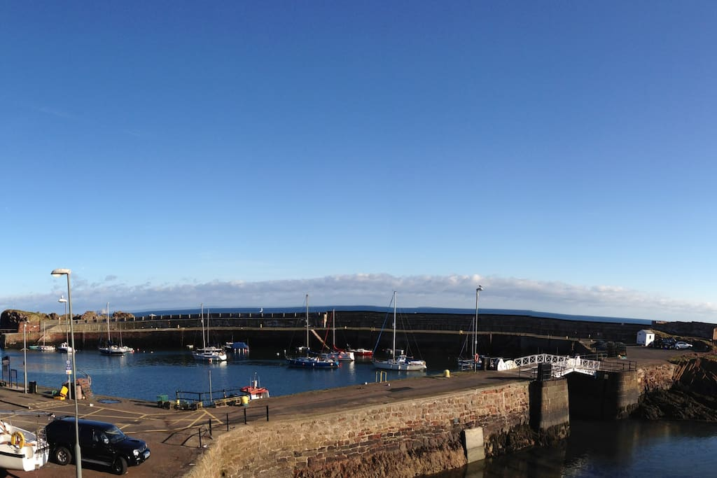 The working harbour from the sitting room.