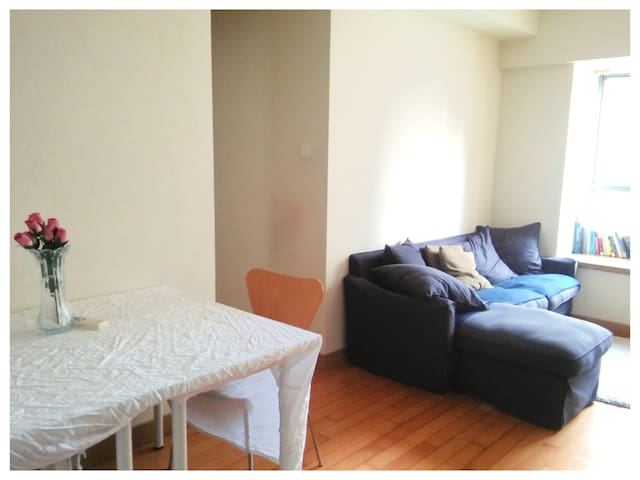 View from Entrance. Living Room Couch & Dining Area. Two Chairs + Two Stools Available for the Dining Table.