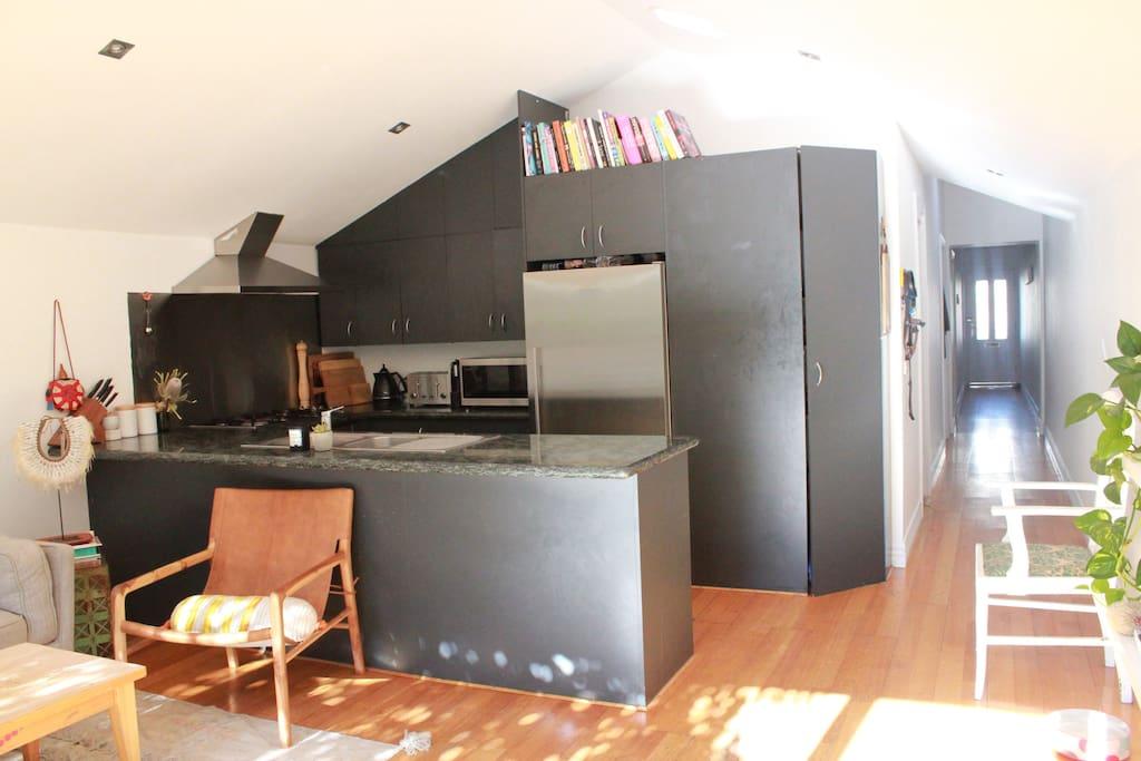 Light filled kitchen & living room.