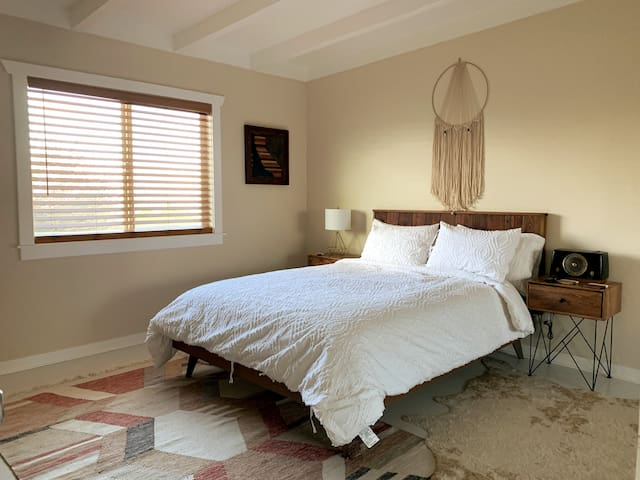 Master bedroom with queen size bed and large closet