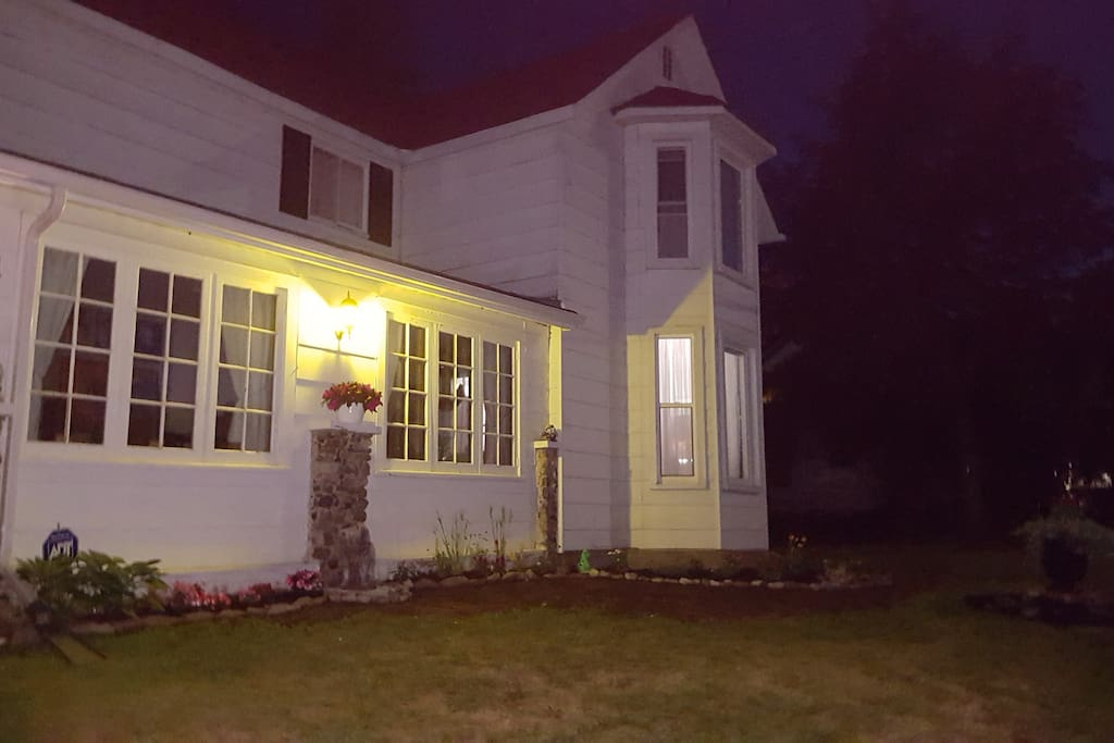 Our treasured home at night.