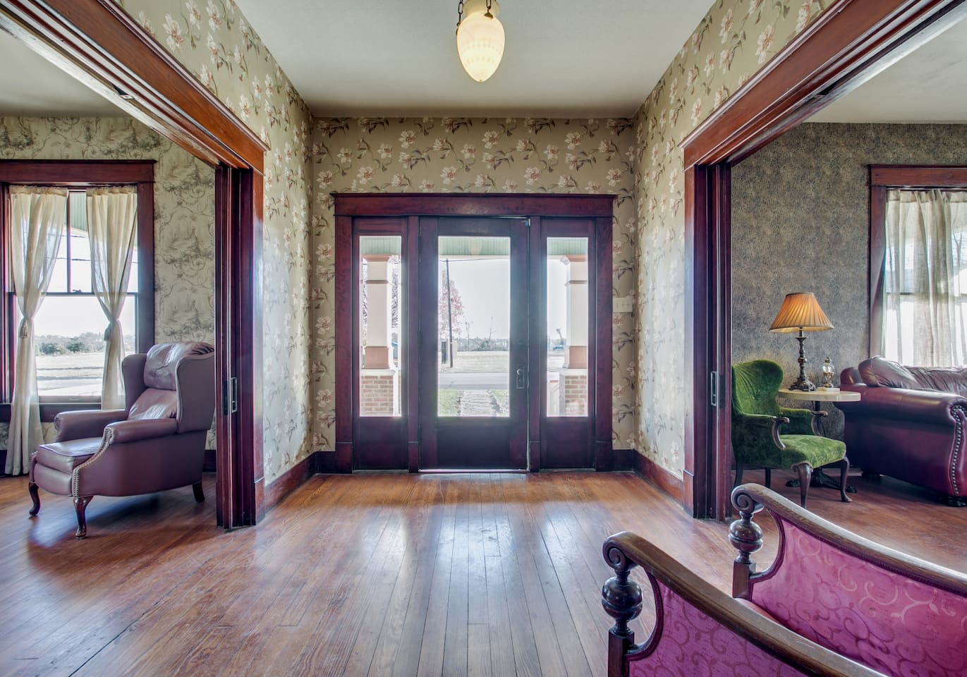 Waltz into the foyer and choose which pocket doors you want to mosey into first.
