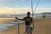 Surf fishing at Carp beach.
