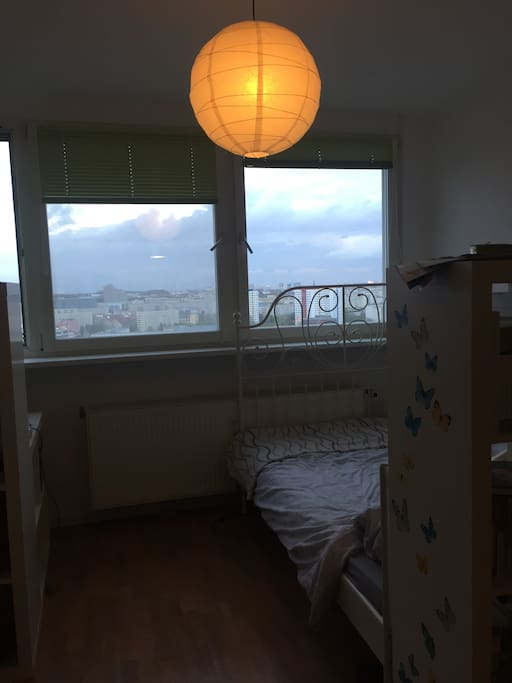 Double bed overlooking the TV tower