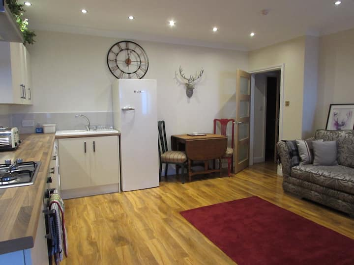 Classy 1 bed ground floor apt near town & station