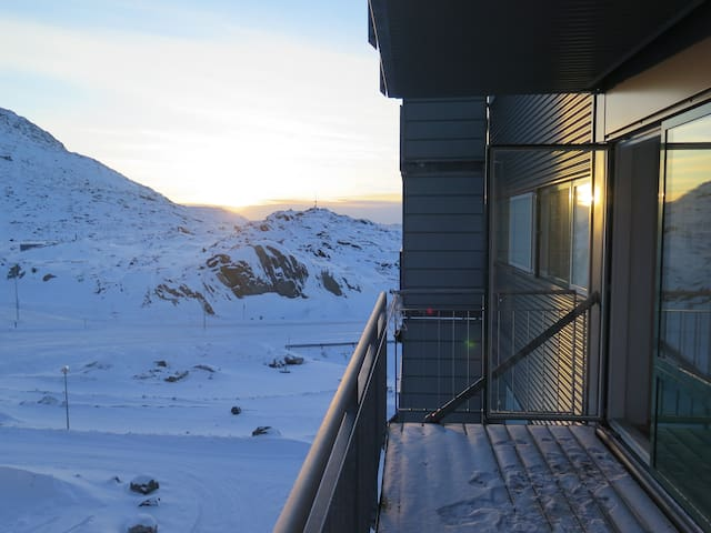 Bright apartment with mountain view