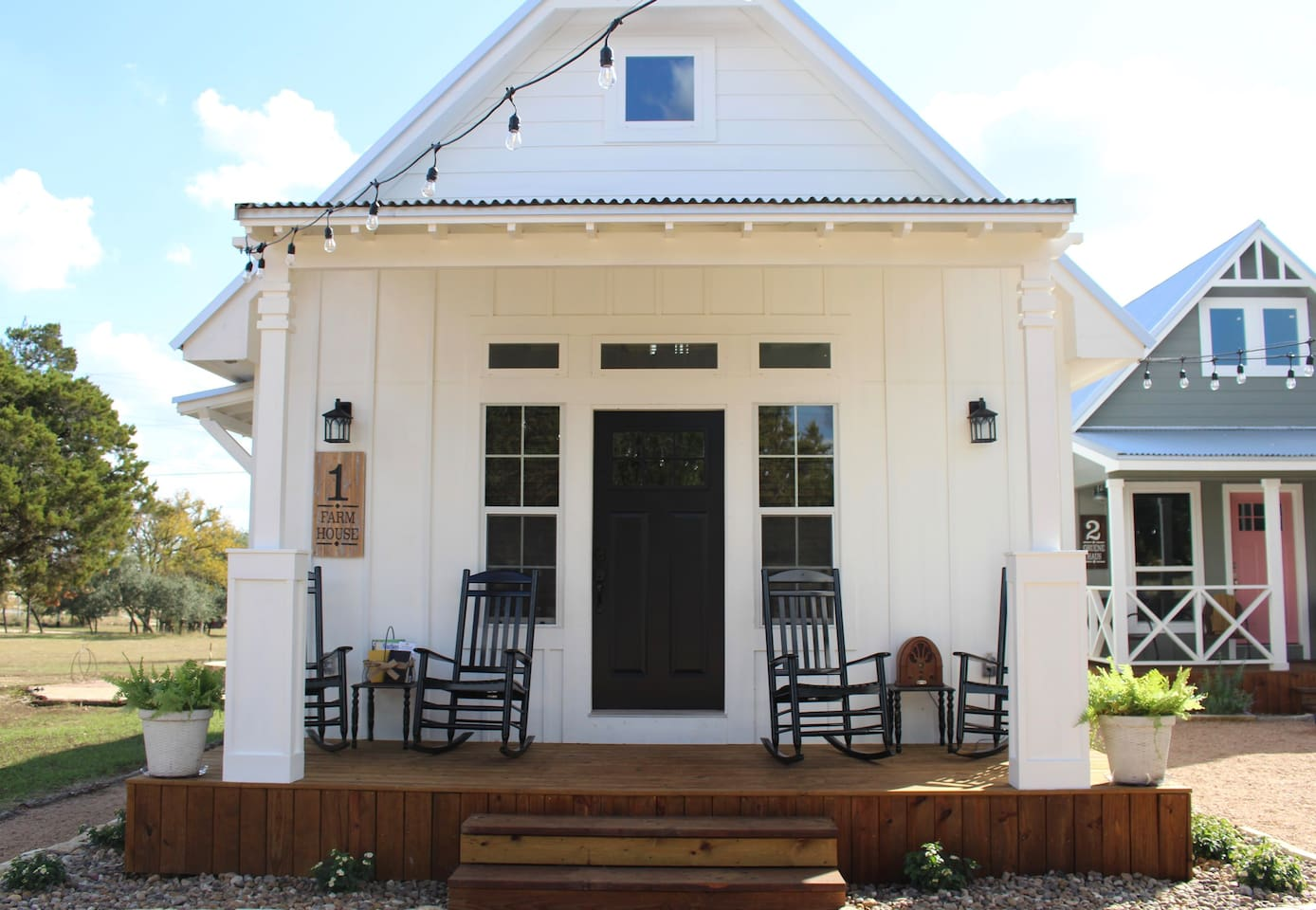 The Farm house is a cozy 625 square foot cottage that sleeps 5. It also has a front and back porch to enjoy.