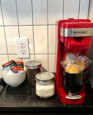 Coffee Station with NEW! Keurig Coffee Maker stocked with our favorite fresh local roast!