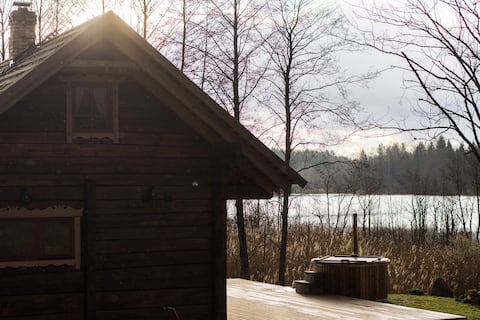 Lake house with sauna and hot tub
