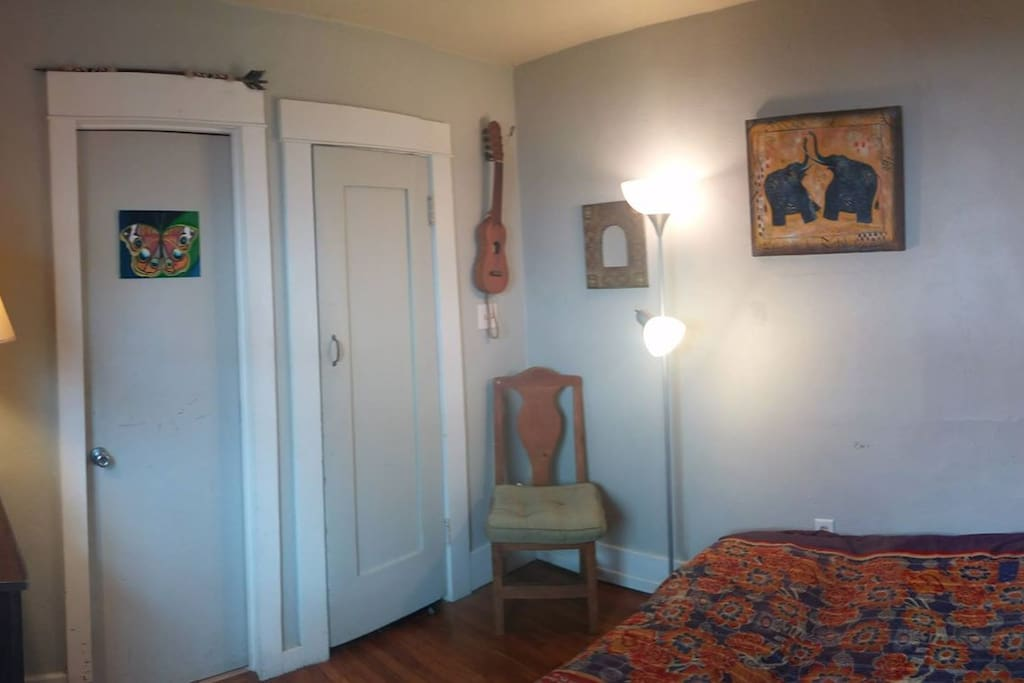 Panoramic view of the room. 2nd door to your right is the room personal closet. Room does have a window.
