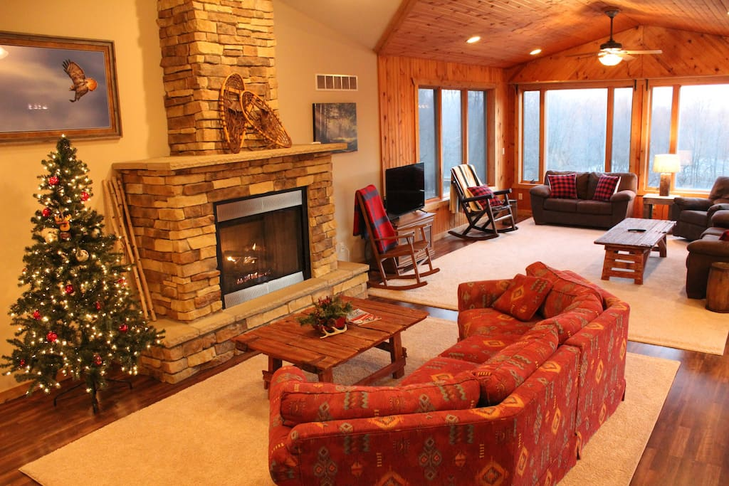 Gas fireplace with seating area