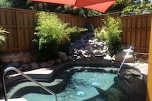 The Railroad Cottage is a sister property (same owner)  to Chozu Bath & Tea Gardens. Cottage guests can take advantage of a 50% discount to relax in Chozu's warm soaking pools, sauna and steam rooms. Chozu is located one block down and is closed on Mondays.