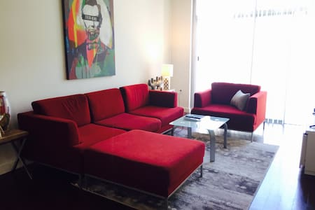 Modern one-bedroom apartment next to Gaslamp with 1 car parking,clean&bright. Walk to restaurants,coffee shops,grocery,clubs, Convention center, East village,Petco Park, Seaport Village,USS Midway, and all attentions. Gym in building,full kitchen.