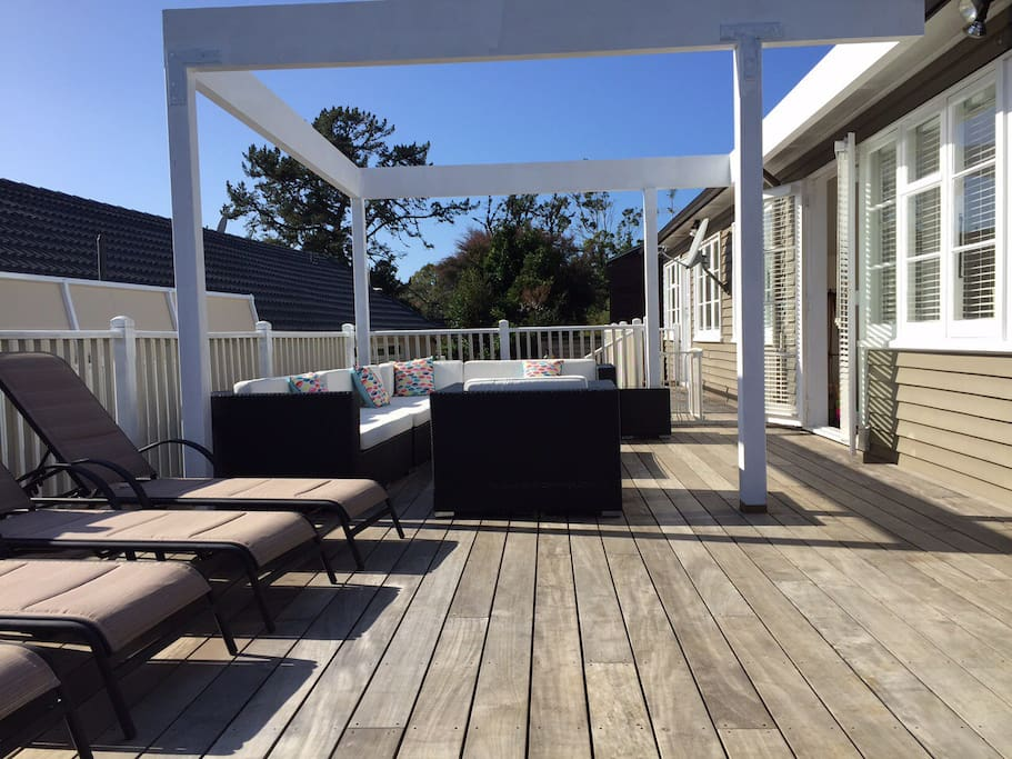 The north facing wrap around deck enjoys the sun all day long