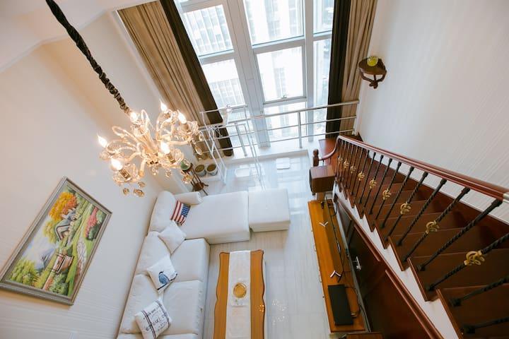 Entire House Loft_迪荡美式乡村LOFT电梯公寓 - 绍兴 - Appartement