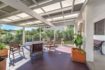 Deck is private & overlooks gardens