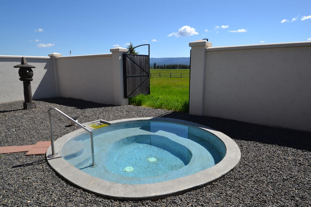 Geothermal pool in private courtyard with meadow and mountain views when gates are open.