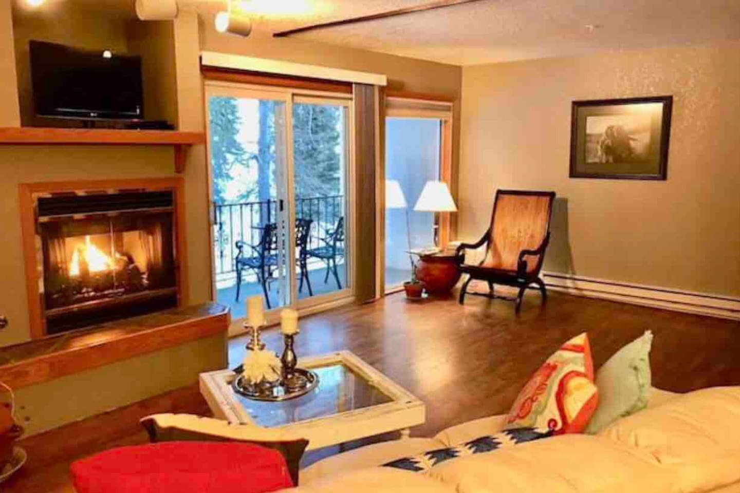 Welcome to Bitterroot Condo #9!! Living room with deck access overlooking Big Mountain and chair 3.
