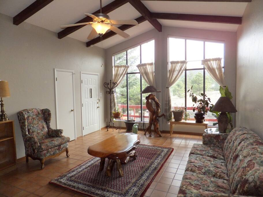 Feature living room with 100% privacy from neighbors
