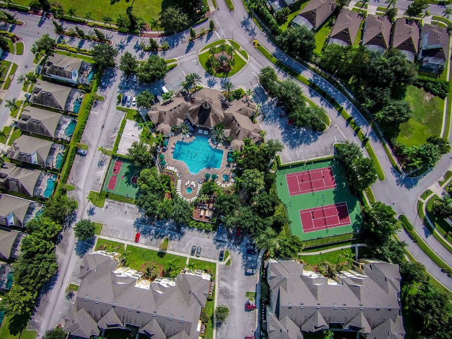 Aerial view of sports area and club house