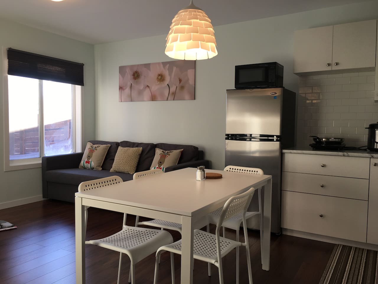Open concept living room and kitchenette