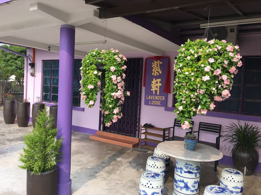 The exterior of Lavender Lodge (smoking area)