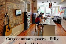 Cozy common spaces + fully stocked kitchens