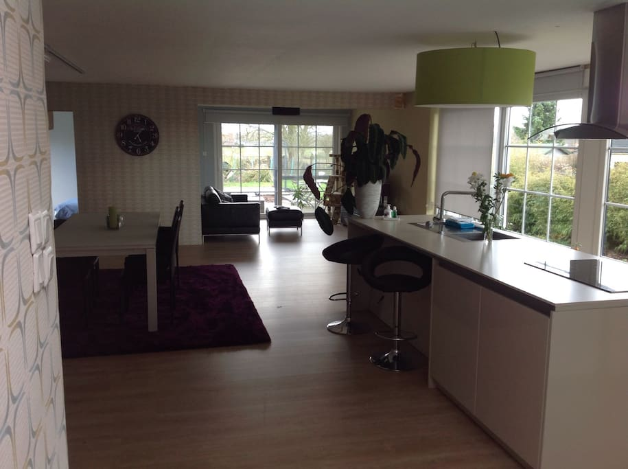 Living room with kitchen,fridge and view off the garden