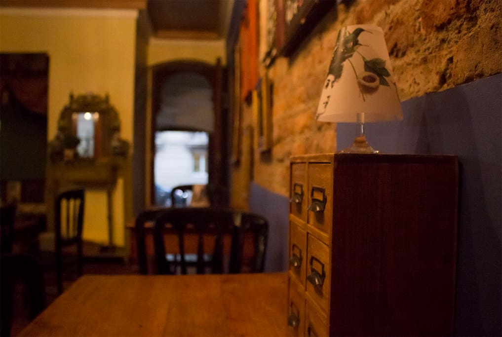 Downstairs, use Wonderland Cafe as your living room, with free wifi and cozy corners