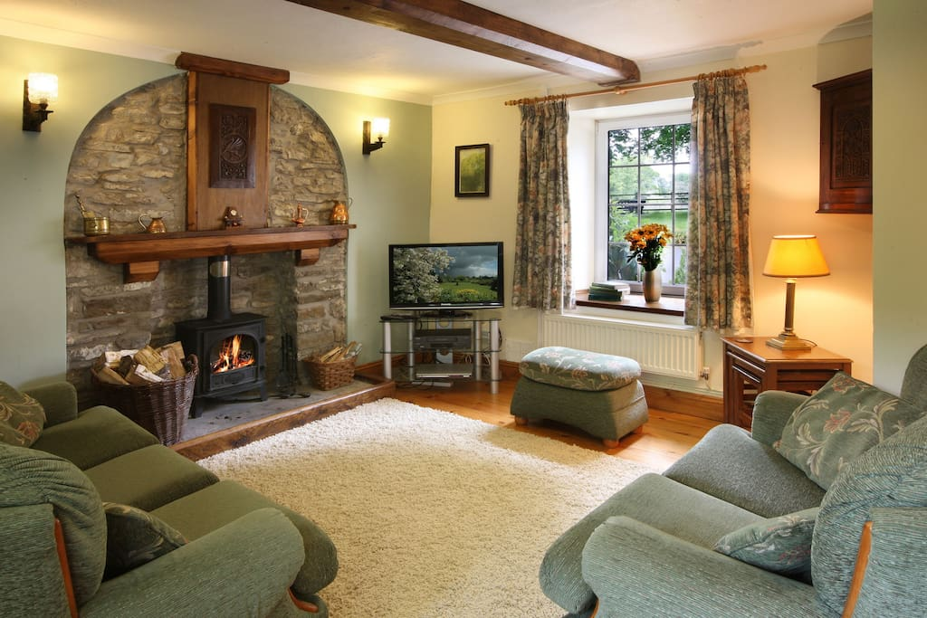 Comfortable Lounge with Log Fire