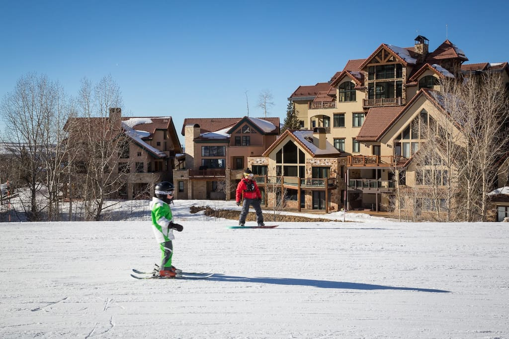 Ski-In-Ski Out!!! As close as it gets with Casa Galena in the background.