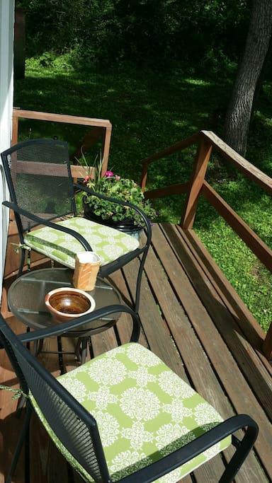 CH private deck with peaceful landscape.