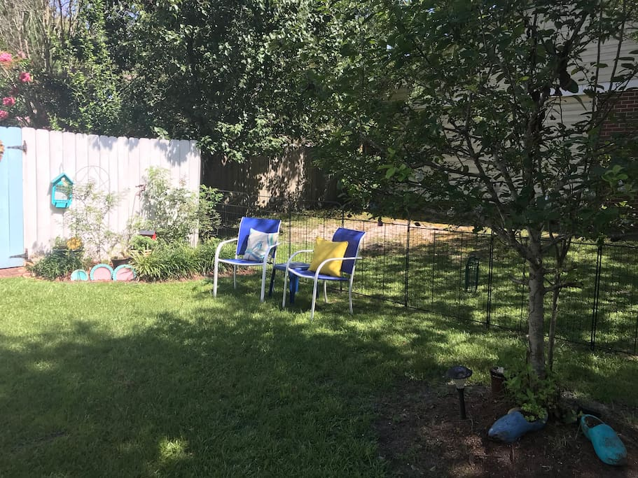 Partially shaded seating area at your front door