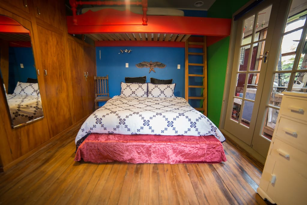 Comfy king sized bed.  Bunk above for an adult or a child over aged 6