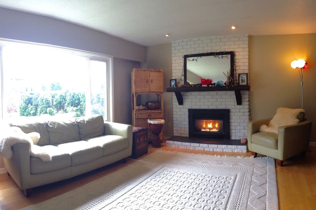 Living Room with gorgeous views of the chief, gas fireplace and comfortable sleeping couch (not in picture)