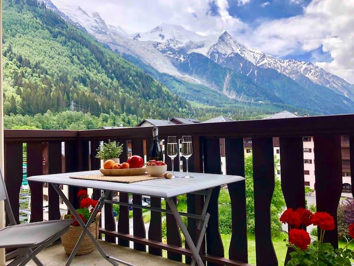 Appartement centre,vue Mont Blanc, balcon, parking