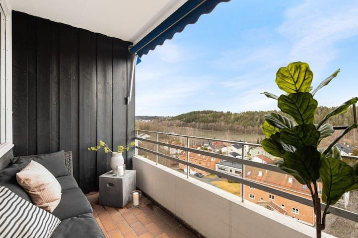 Two bedroom apartment with balcony and nice views.