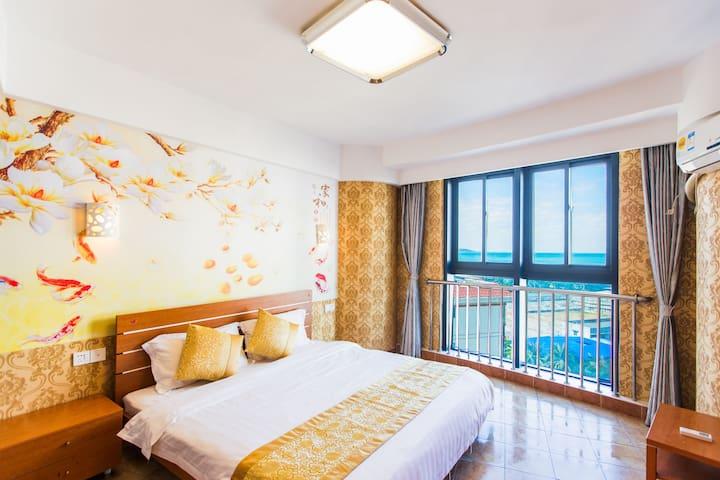 月租2880 可做饭 每客消毒 三亚湾椰梦长廊 海景家庭房两空调 躺床上能看海 下楼步行三分钟到沙滩