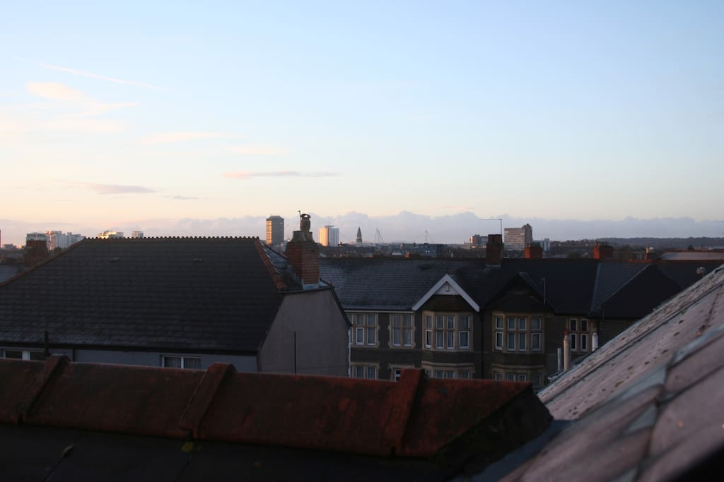 View from 2nd floor double bedroom - will Millennium/Principality 1.7 miles in the distance