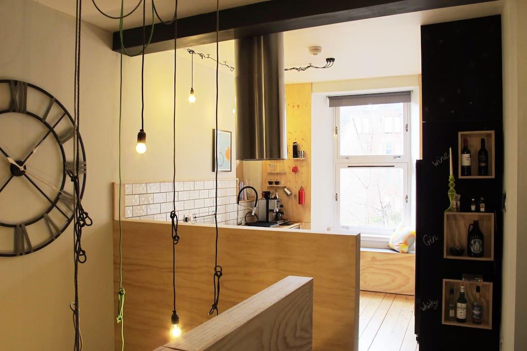 open kitchen on upper level