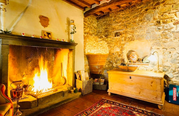 Traditional Tuscan mountain village house