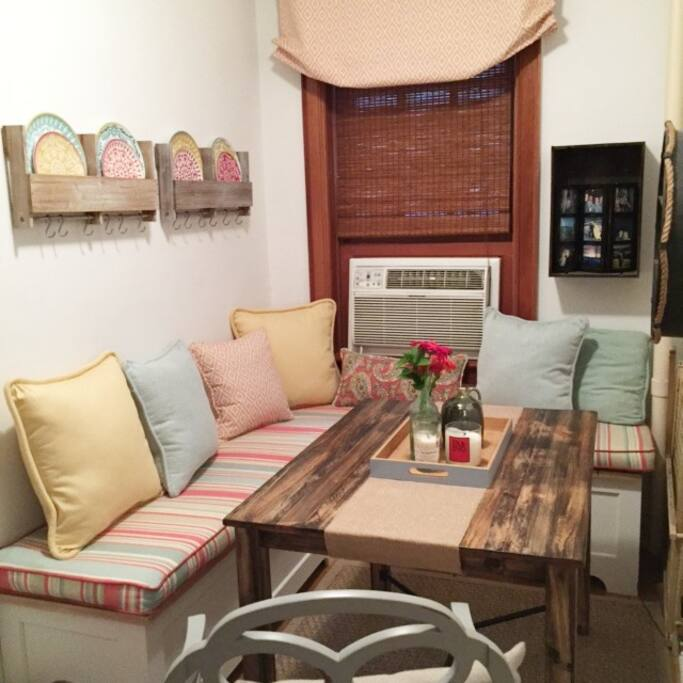 Cushioned breakfast nook to enjoy in-home meals, coffee, or relaxing