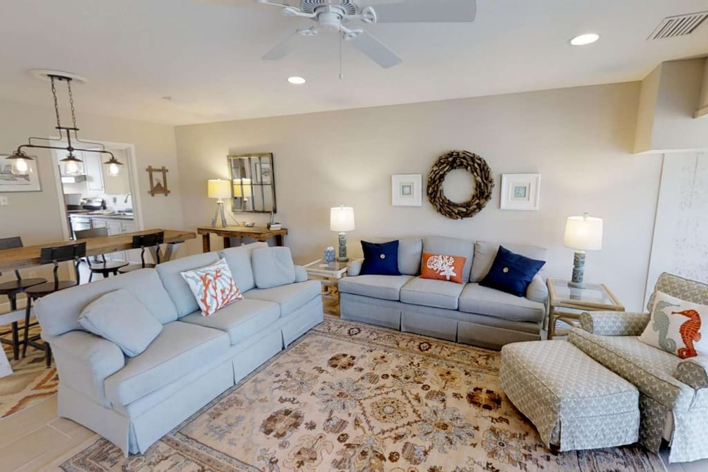 Comfortable and Casual living area.  Perfect place to relax after playing 18 holes at Harbourtown.